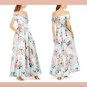 NWT $248 Eliza Off-The-Shoulder Mint Floral Gown
